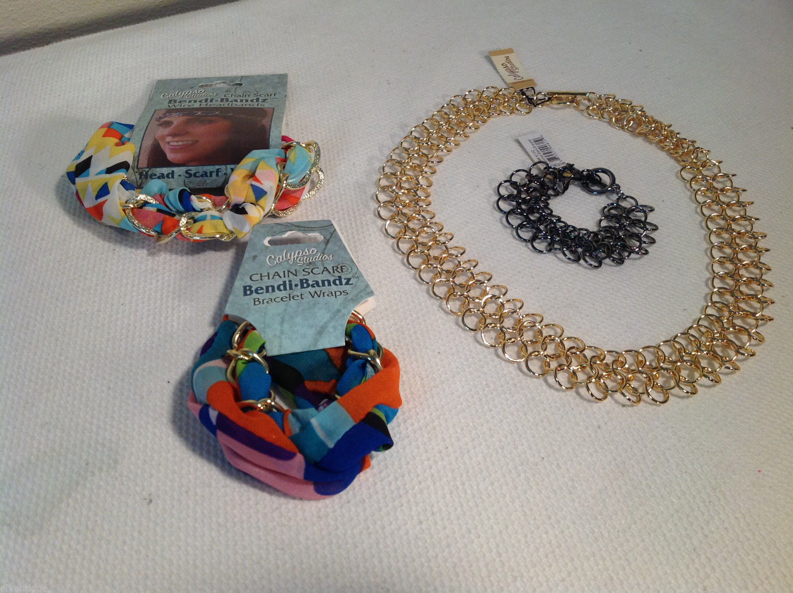 Lot of 4 Calypso Studios - Bendi-bands Headband Bracelet Necklace Chainmail