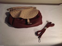 Mad Style brown faux leather ostrich saddle tote handbag shoulder