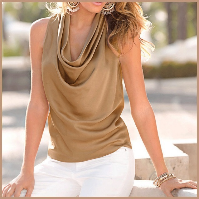 Many Solid Colors Sexy Draped Neck Sleeveless Satin Summer Blouse Top