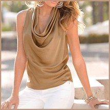 Many Solid Colors Sexy Draped Neck Sleeveless Satin Summer Blouse Top image 1