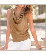 Many Solid Colors Sexy Draped Neck Sleeveless Satin Summer Blouse Top - $43.95