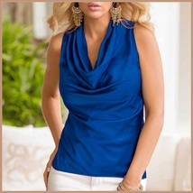 Many Solid Colors Sexy Draped Neck Sleeveless Satin Summer Blouse Top image 3