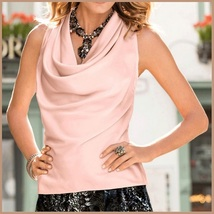 Many Solid Colors Sexy Draped Neck Sleeveless Satin Summer Blouse Top image 5