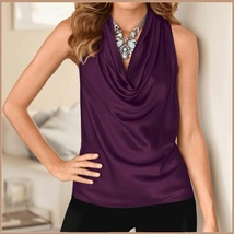 Many Solid Colors Sexy Draped Neck Sleeveless Satin Summer Blouse Top image 6