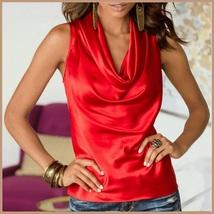 Many Solid Colors Sexy Draped Neck Sleeveless Satin Summer Blouse Top image 7