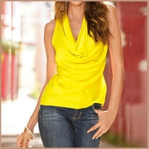 Many Solid Colors Sexy Draped Neck Sleeveless Satin Summer Blouse Top image 8