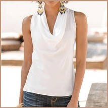 Many Solid Colors Sexy Draped Neck Sleeveless Satin Summer Blouse Top image 9