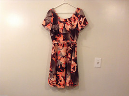 Womens Eva Mendes New York and Company Gray/Brown/Orange Flowers Dress, size 10