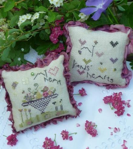 Our Hearts Pincushion kit cross stitch Shepherd's Bush