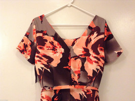 Womens Eva Mendes New York and Company Gray/Brown/Orange Flowers Dress, size 10 image 5