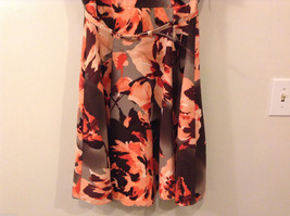 Womens Eva Mendes New York and Company Gray/Brown/Orange Flowers Dress, size 10 image 4