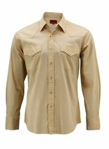 Men's Pearl Snap Button Long Sleeve Western Slim Fit Khaki Dress Shirt 2XL