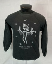 Vintage North Dakota Sweatshirt Crewneck Black Hanes 80s USA Tribal Aztec Native - $39.99