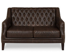 "54"" Sofa Settee Distressed Cigar Brown Tufted Bonded Leather Contemporary - $1,480.05"