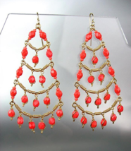GORGEOUS Coral Red Crystal Beads Gold Chandelier Dangle Peruvian Earring... - $21.99