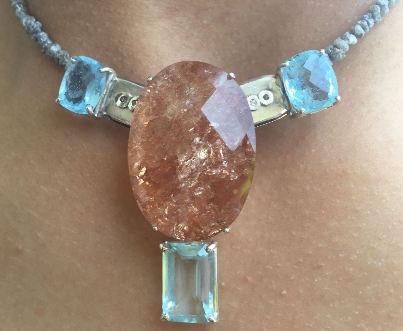 New 142.62ct aquamarine, Morganite, 33ct gray diamond Platinum 14k gold necklace