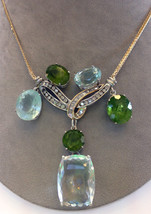 Estate Huge VS 71.48ct aquamarine peridot, 2.43 diamond 14k gold Choker ... - $16,999.99