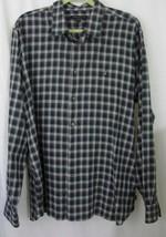 John Varvatos Shirt XL Blue Gray Plaid Long Sleeve Button Down Extra Large - $34.99