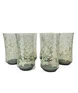 LOT of 6 Vintage Libbey Smokey Grey Beverage Glasses with Butterflies & ... - $27.71
