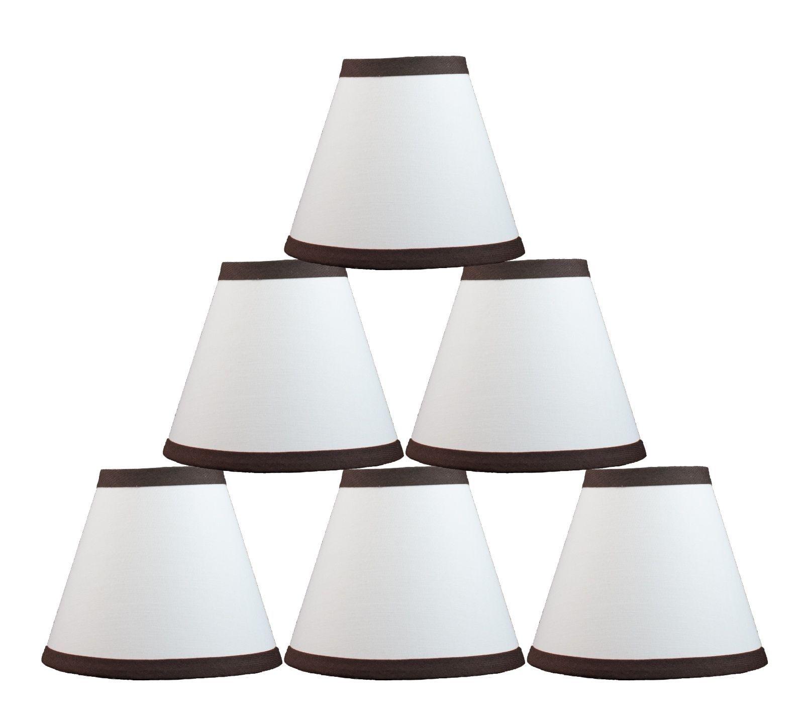 Urbanest White Cotton w Coffee Trim Chandelier Mini Lamp
