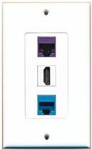 RiteAV  1 Port HDMI 1 Cat5e Ethernet Blue 1 Cat5e Ethernet Purple Wall Plate... - $14.34