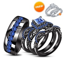 His & Hers Blue Sapphire Wedding Ring Trio Set 14k Black Gold Finish & Free Gift - $184.99