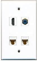 RiteAV  1 Port HDMI 1 Port RCA Blue 2 Port Cat6 Ethernet White Wall Plate - $20.88