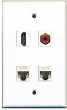 RiteAV  1 Port HDMI 1 Port RCA Red 2 Port Cat5e Ethernet White Wall Plate - $20.88