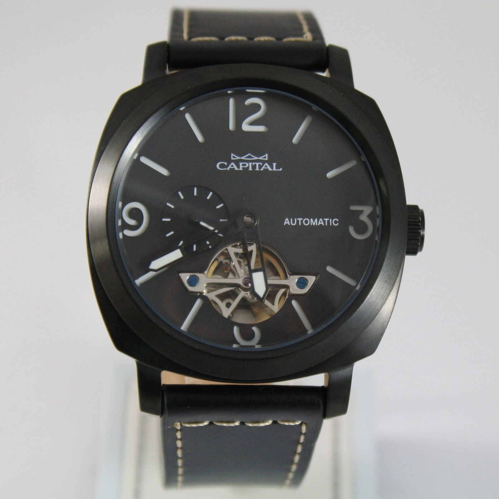 CAPITAL WATCH AUTOMATIC TY2501 MOVEMENT 43 MM BLACK CASE LEATHER BAND