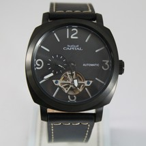 CAPITAL WATCH AUTOMATIC TY2501 MOVEMENT 43 MM BLACK CASE LEATHER BAND image 1
