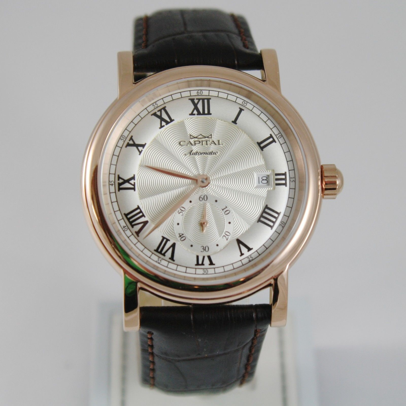 CAPITAL WATCH AUTOMATIC TY2718 MOVEMENT 41 MM PINK CASE ROMAN NUMBER retrò style