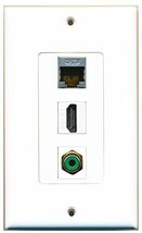 RiteAV  1 Port HDMI 1 RCA Green 1 Shielded Cat6 Ethernet Wall Plate Decorative - $14.34