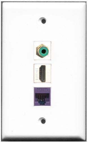 Primary image for RiteAV  1 Port HDMI 1 RCA Green 1 Cat5e Ethernet Purple Wall Plate