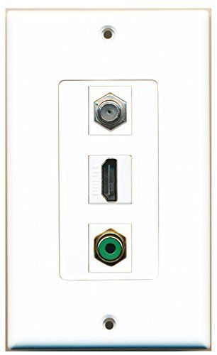 Primary image for RiteAV  1 Port HDMI 1 RCA Green 1 Coax Cable TV- F-Type Wall Plate Decorative