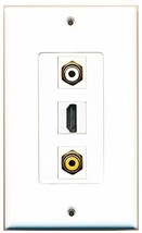 RiteAV  1 Port HDMI 1 RCA White 1 RCA Yellow Wall Plate Decorative - $14.19
