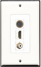 RiteAV  1 Port HDMI 1 RCA White 1 S-Video Wall Plate Decorative - $14.19