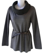 Debbie Morgan Size S Womens Ribbed Cowl Neck Gray Pullover Sweater - $16.99