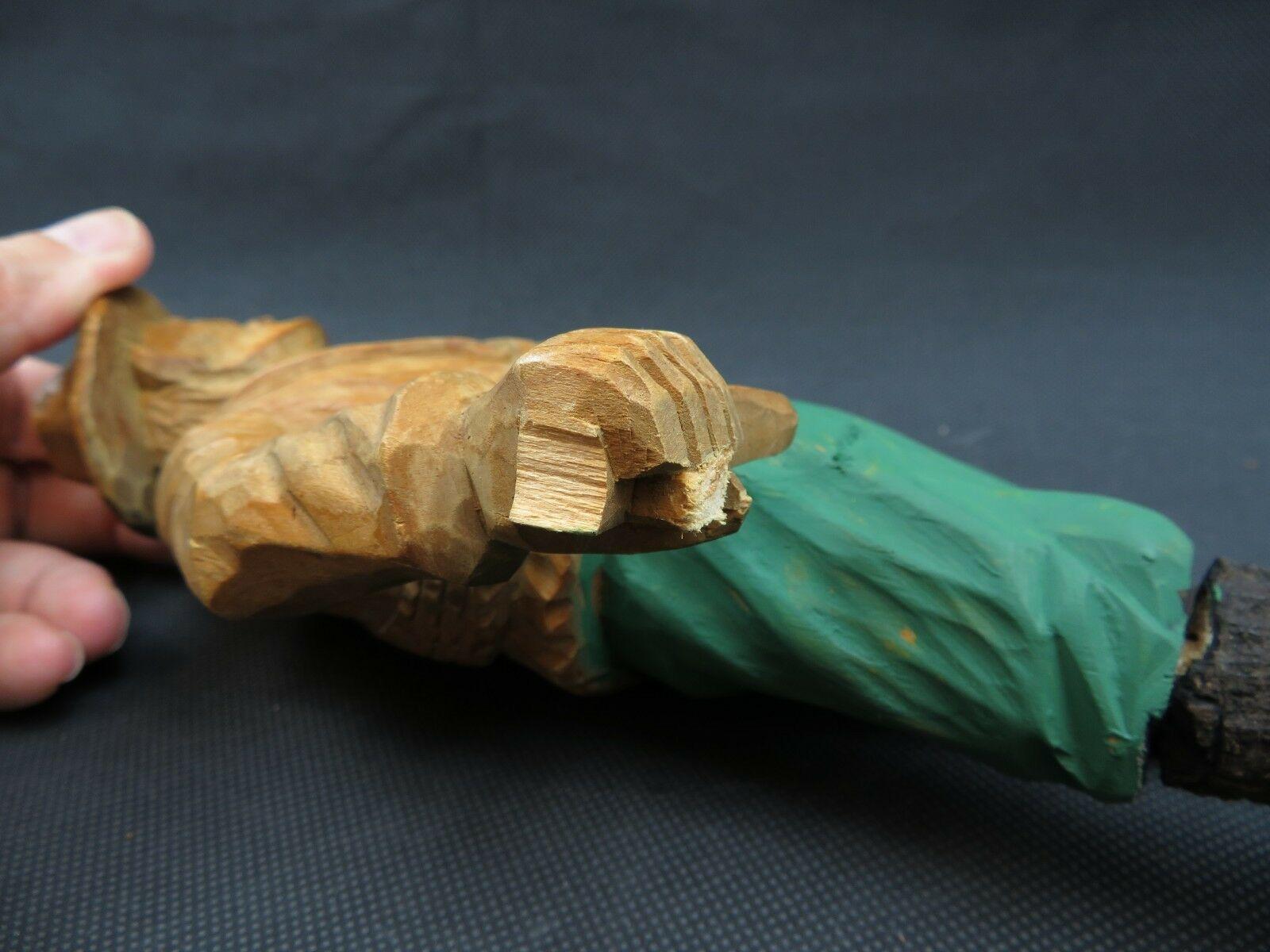 Antique 1900 German Black Forest Carved Wood Figural Chamois Horns Hook Rack image 10