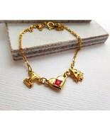 Vintage Avon Gold Tone I Love Christmas With Tree Red Rhinestone Bracele... - $13.85