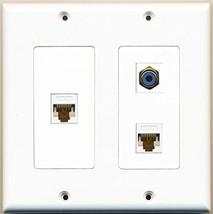 RiteAV  1 Port RCA Blue 2 Port Cat6 Ethernet White - 2 Gang Wall Plate - $21.49