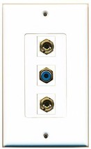 RiteAV  1 Port RCA Blue 2 Port Banana Speaker Decorative  Wall Plate Dec... - $14.34