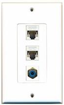 RiteAV  1 Port RCA Blue 2 Port Cat5e Ethernet White Decorative  Wall Plate - $14.19