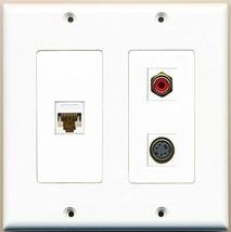 RiteAV  1 Port RCA Red 1 Port S-Video 1 Port Cat6 Ethernet White - 2 Gang Wa... - $21.49