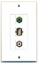 RiteAV  1 Port RCA White - RCA Green - USB A-A Decorative  Wall... - $14.34