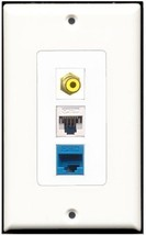 RiteAV  1 Port RCA Yellow 1 Cat5e Ethernet White 1 Cat5e Ethernet Blue Wall ... - $14.34