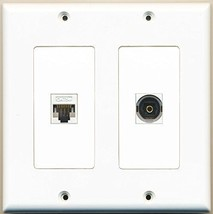 RiteAV  1 Port Toslink 1 Port Cat5e Ethernet White - Dual Gang Wall Plate - $17.58