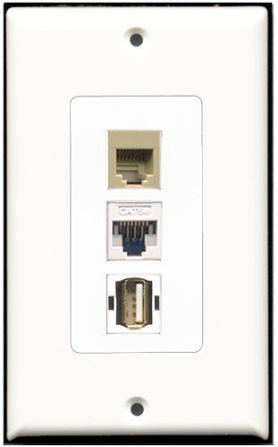 RiteAV  1 Port USB A-A 1 Phone RJ11 RJ12 Beige 1 Cat5e Ethernet White Wall P...