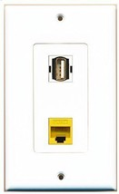 RiteAV  1 Port USB A-A 1 Port Cat5e Ethernet Yellow Decorative Wall Plate - $13.06