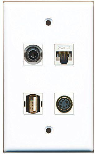 RiteAV  1 Port USB A-A 1 Port S-Video 1 Port 3.5mm 1 Port Cat5e Ethernet Whi...