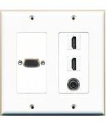 RiteAV  1 x SVGA 2 x HDMI and 1 x 3.5mm Audio Port Wall Plate 2 Gang White - $25.20